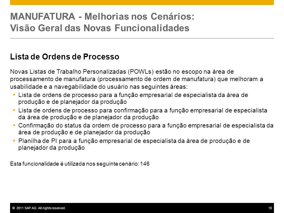 ©2011 SAP AG. All rights reserved.10 MANUFATURA - Melhorias nos Cenários: Visão Geral das Novas Funcionalidades Lista de Ordens de Processo Novas List