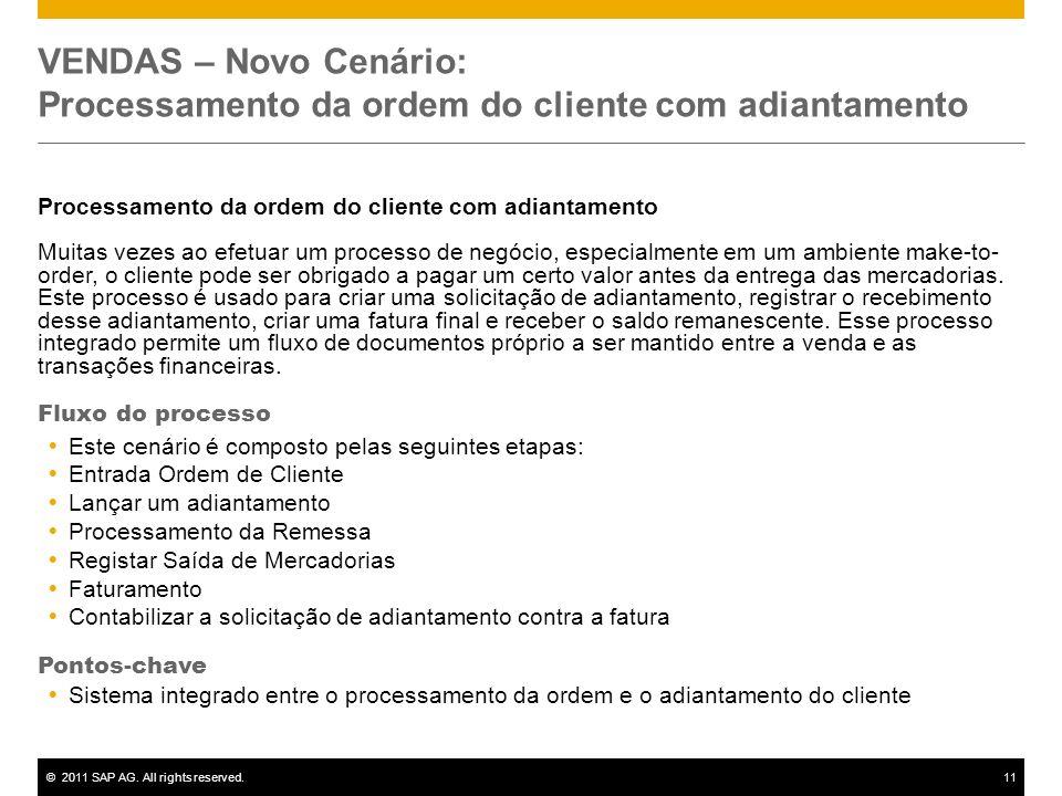 ©2011 SAP AG. All rights reserved.11 VENDAS – Novo Cenário: Processamento da ordem do cliente com adiantamento Processamento da ordem do cliente com a