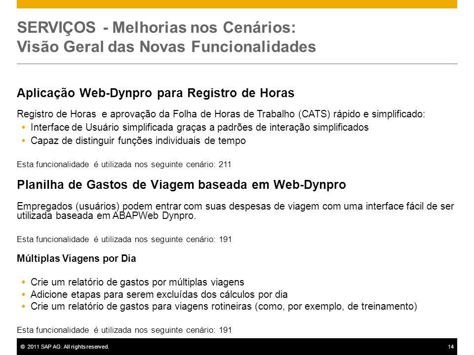 ©2011 SAP AG. All rights reserved.14 SERVIÇOS - Melhorias nos Cenários: Visão Geral das Novas Funcionalidades Aplicação Web-Dynpro para Registro de Ho
