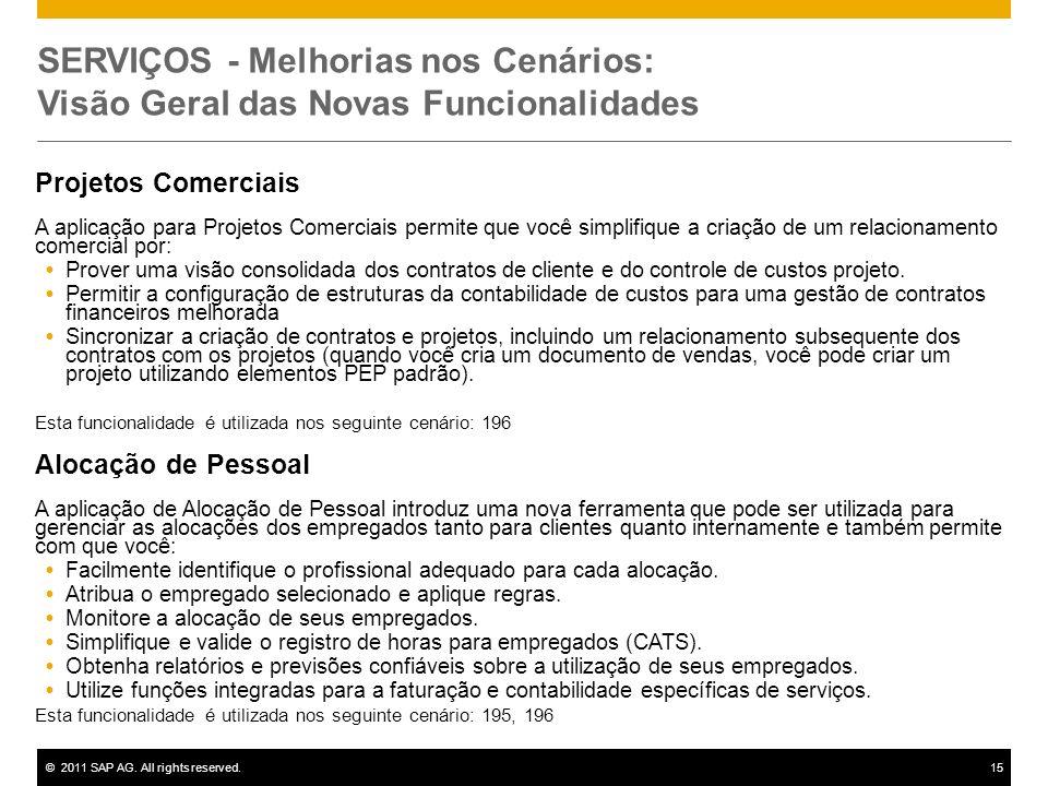 ©2011 SAP AG. All rights reserved.15 SERVIÇOS - Melhorias nos Cenários: Visão Geral das Novas Funcionalidades Projetos Comerciais A aplicação para Pro