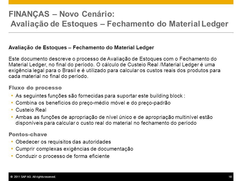 ©2011 SAP AG. All rights reserved.18 FINANÇAS – Novo Cenário: Avaliação de Estoques – Fechamento do Material Ledger Avaliação de Estoques – Fechamento