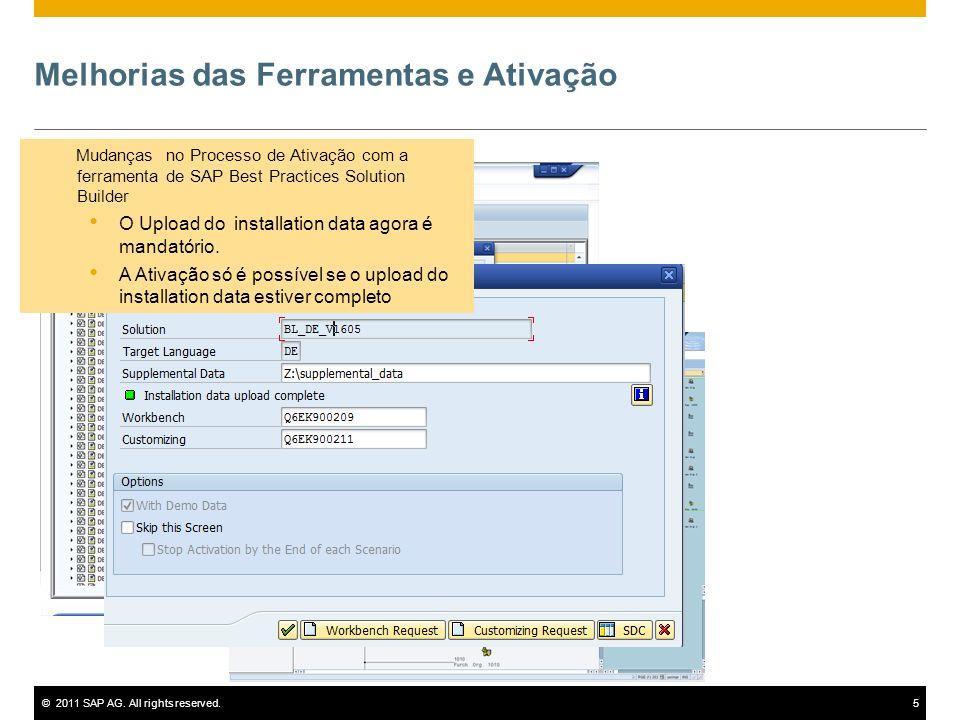 ©2011 SAP AG. All rights reserved.5 Mudanças no Processo de Ativação com a ferramenta de SAP Best Practices Solution Builder O Upload do installation