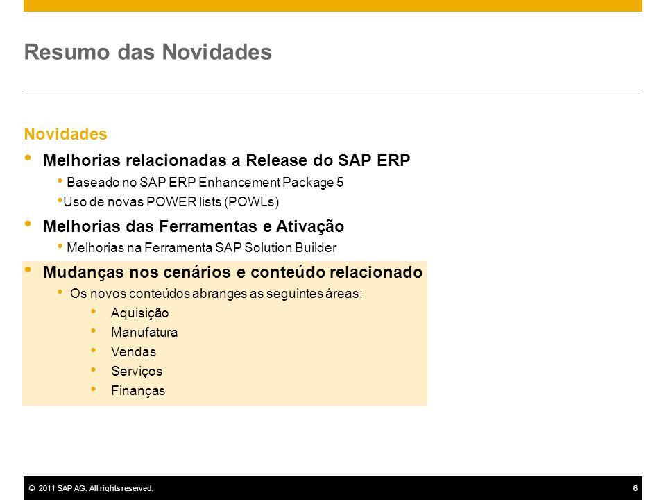 ©2011 SAP AG. All rights reserved.6 Novidades Melhorias relacionadas a Release do SAP ERP Baseado no SAP ERP Enhancement Package 5 Uso de novas POWER