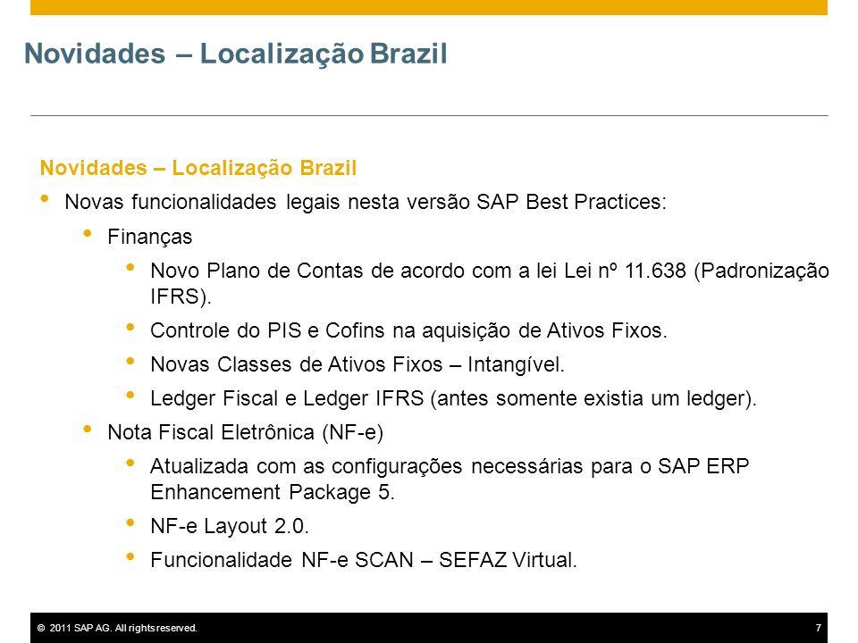 ©2011 SAP AG. All rights reserved.7 Novidades – Localização Brazil Novas funcionalidades legais nesta versão SAP Best Practices: Finanças Novo Plano d