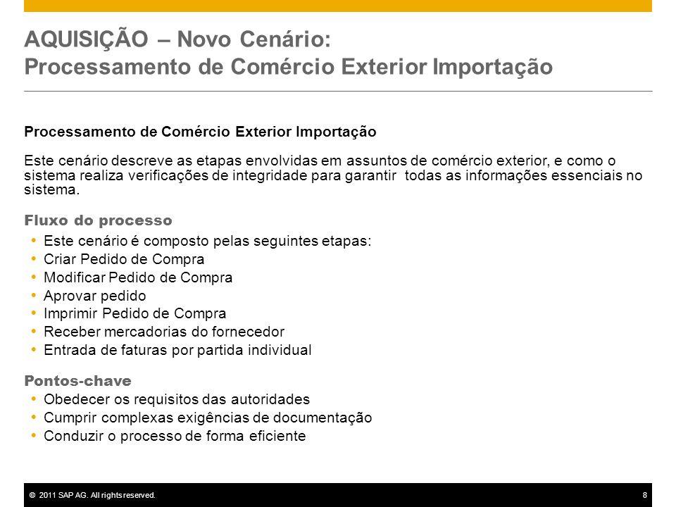 ©2011 SAP AG. All rights reserved.8 AQUISIÇÃO – Novo Cenário: Processamento de Comércio Exterior Importação Processamento de Comércio Exterior Importa