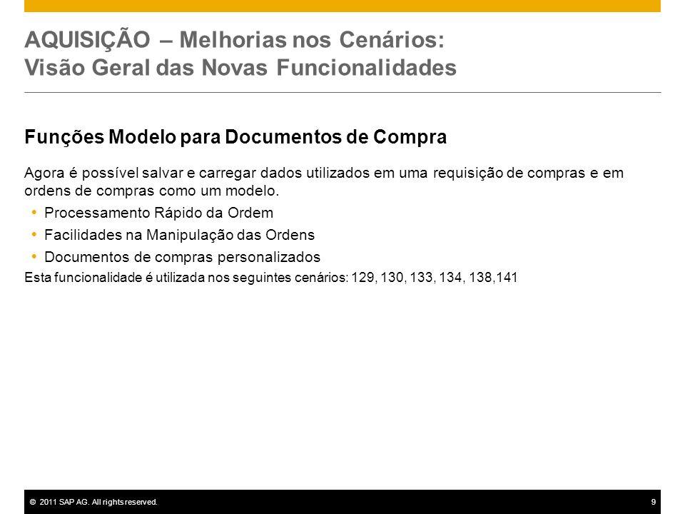 ©2011 SAP AG. All rights reserved.9 AQUISIÇÃO – Melhorias nos Cenários: Visão Geral das Novas Funcionalidades Funções Modelo para Documentos de Compra