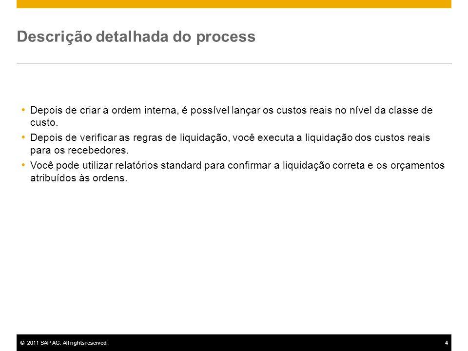 ©2011 SAP AG. All rights reserved.4 Descrição detalhada do process Depois de criar a ordem interna, é possível lançar os custos reais no nível da clas