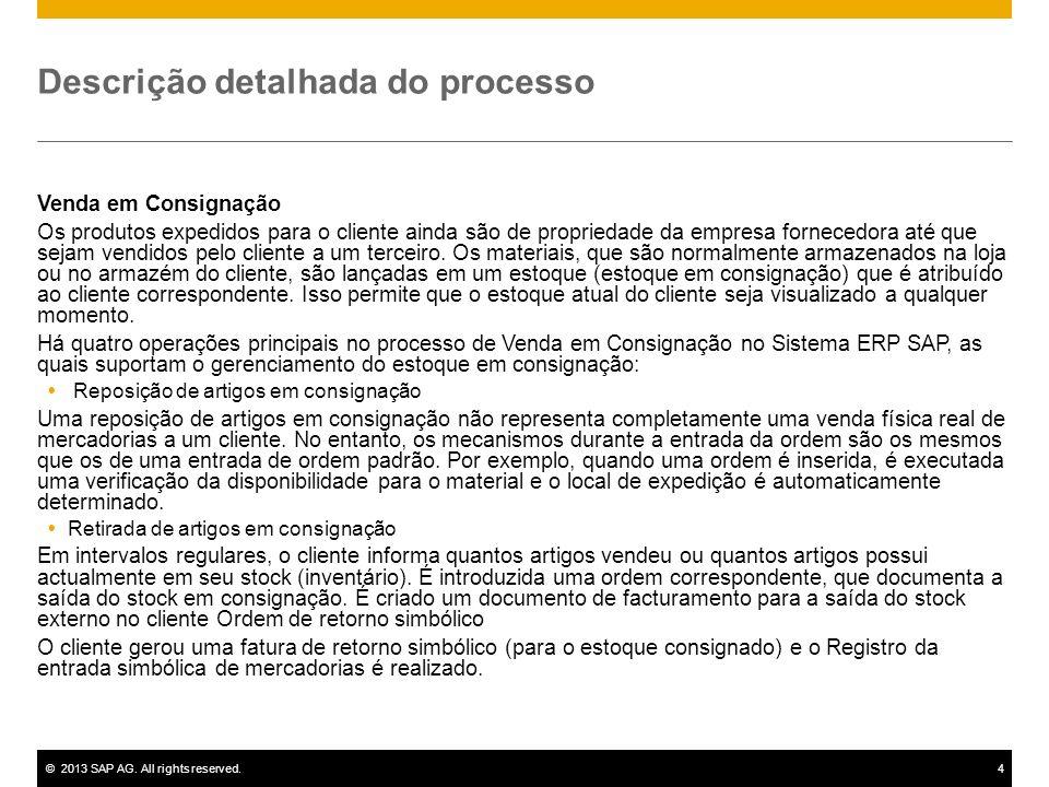 ©2013 SAP AG. All rights reserved.4 Descrição detalhada do processo Venda em Consignação Os produtos expedidos para o cliente ainda são de propriedade