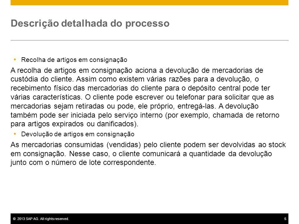 ©2013 SAP AG. All rights reserved.5 Descrição detalhada do processo Recolha de artigos em consignação A recolha de artigos em consignação aciona a dev