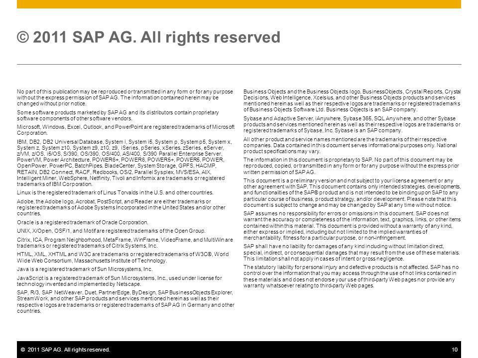 ©2011 SAP AG. All rights reserved.10 No part of this publication may be reproduced or transmitted in any form or for any purpose without the express p