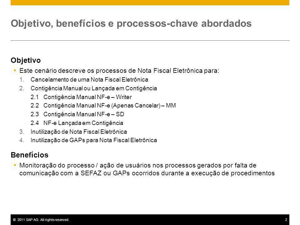 ©2011 SAP AG. All rights reserved.2 Objetivo, benefícios e processos-chave abordados Objetivo Este cenário descreve os processos de Nota Fiscal Eletrô