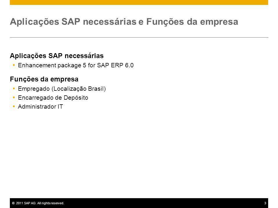 ©2011 SAP AG. All rights reserved.3 Aplicações SAP necessárias e Funções da empresa Aplicações SAP necessárias Enhancement package 5 for SAP ERP 6.0 F