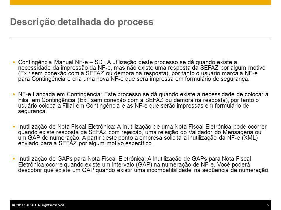 ©2011 SAP AG. All rights reserved.5 Descrição detalhada do process Contingência Manual NF-e – SD : A utilização deste processo se dá quando existe a n