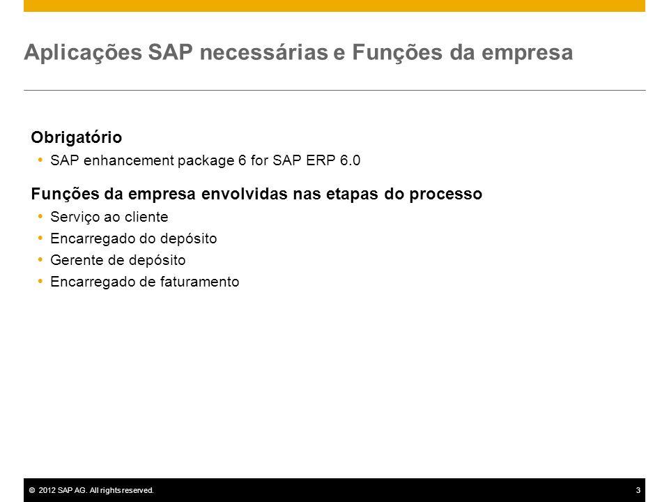 ©2012 SAP AG. All rights reserved.3 Aplicações SAP necessárias e Funções da empresa Obrigatório SAP enhancement package 6 for SAP ERP 6.0 Funções da e