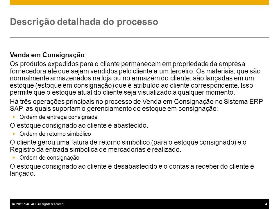 ©2012 SAP AG. All rights reserved.4 Descrição detalhada do processo Venda em Consignação Os produtos expedidos para o cliente permanecem em propriedad