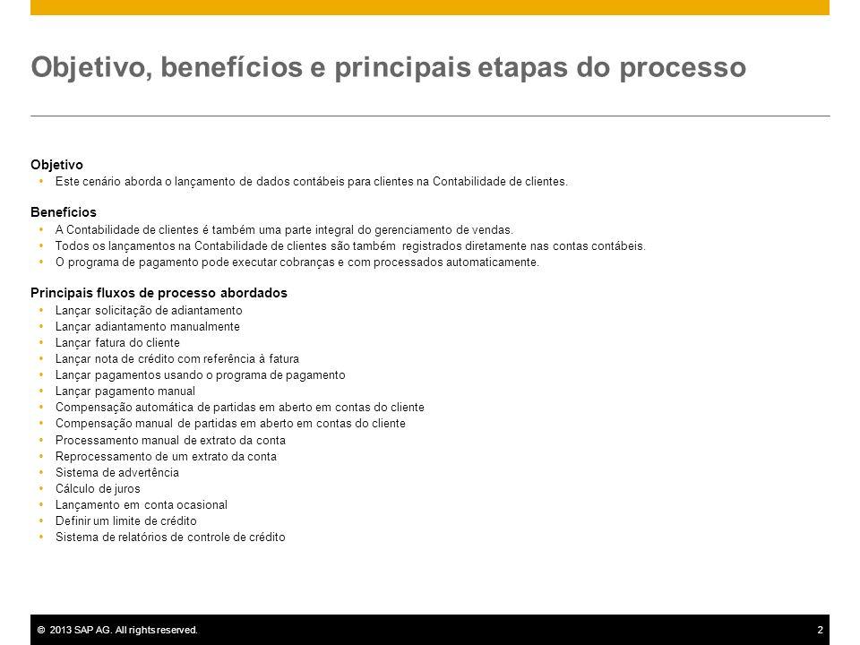 ©2013 SAP AG. All rights reserved.2 Objetivo, benefícios e principais etapas do processo Objetivo Este cenário aborda o lançamento de dados contábeis