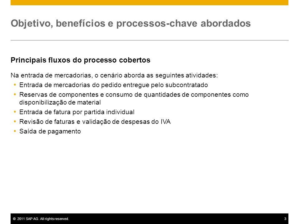 ©2011 SAP AG. All rights reserved.3 Objetivo, benefícios e processos-chave abordados Principais fluxos do processo cobertos Na entrada de mercadorias,