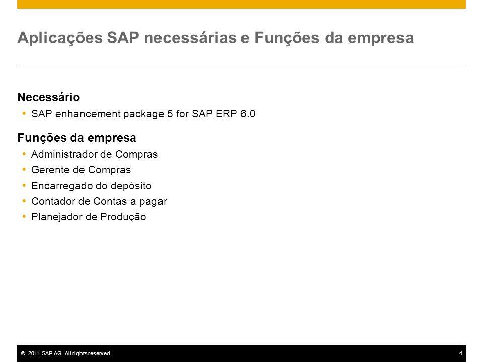 ©2011 SAP AG. All rights reserved.4 Aplicações SAP necessárias e Funções da empresa Necessário SAP enhancement package 5 for SAP ERP 6.0 Funções da em