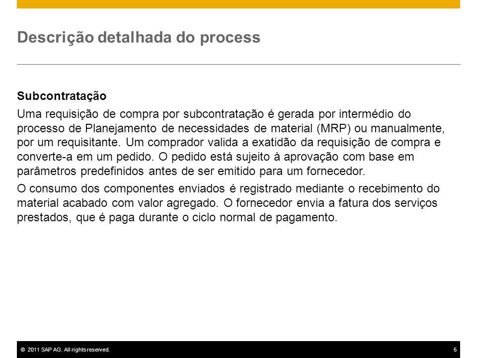 ©2011 SAP AG. All rights reserved.5 Descrição detalhada do process Subcontratação Uma requisição de compra por subcontratação é gerada por intermédio