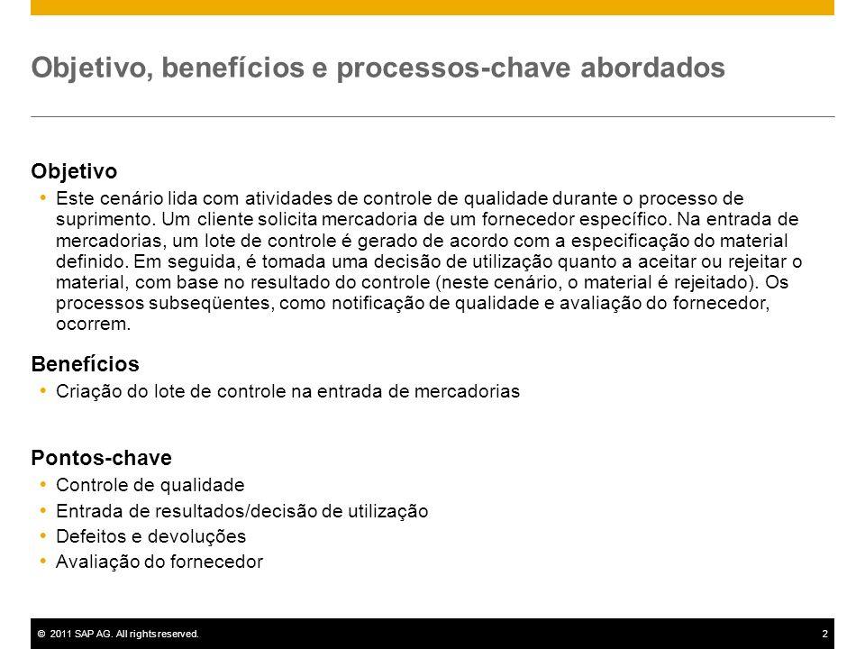 ©2011 SAP AG. All rights reserved.2 Objetivo, benefícios e processos-chave abordados Objetivo Este cenário lida com atividades de controle de qualidad
