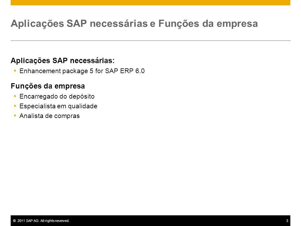 ©2011 SAP AG. All rights reserved.3 Aplicações SAP necessárias e Funções da empresa Aplicações SAP necessárias: Enhancement package 5 for SAP ERP 6.0