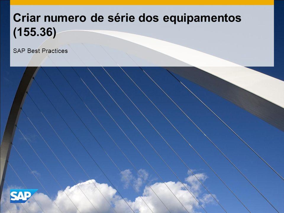 Criar numero de série dos equipamentos (155.36) SAP Best Practices