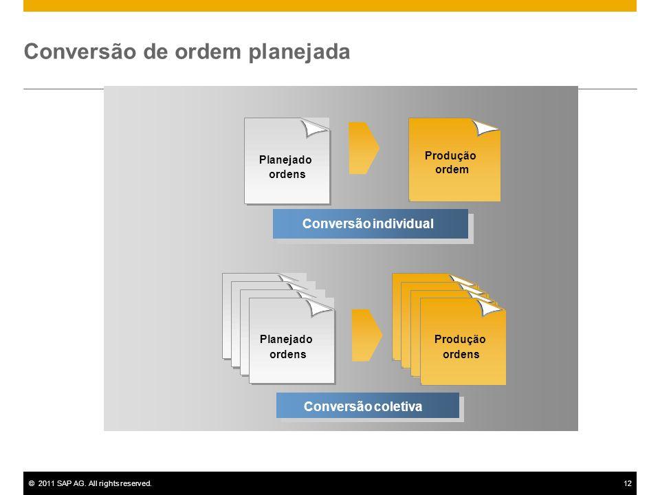 ©2011 SAP AG. All rights reserved.12 Conversão individual Planejado ordens Produção ordens Conversão coletiva Conversão de ordem planejada Produção or