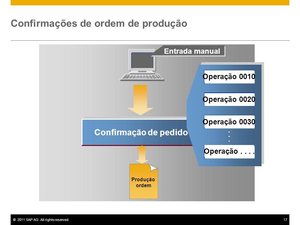 ©2011 SAP AG. All rights reserved.17 Confirmação de pedido...... Entrada manual Confirmações de ordem de produção Produção ordem Operação 0010 Operaçã