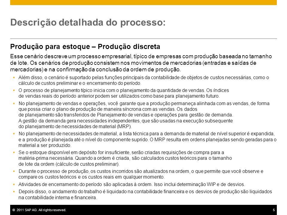 ©2011 SAP AG. All rights reserved.5 Descrição detalhada do processo: Produção para estoque – Produção discreta Esse cenário descreve um processo empre