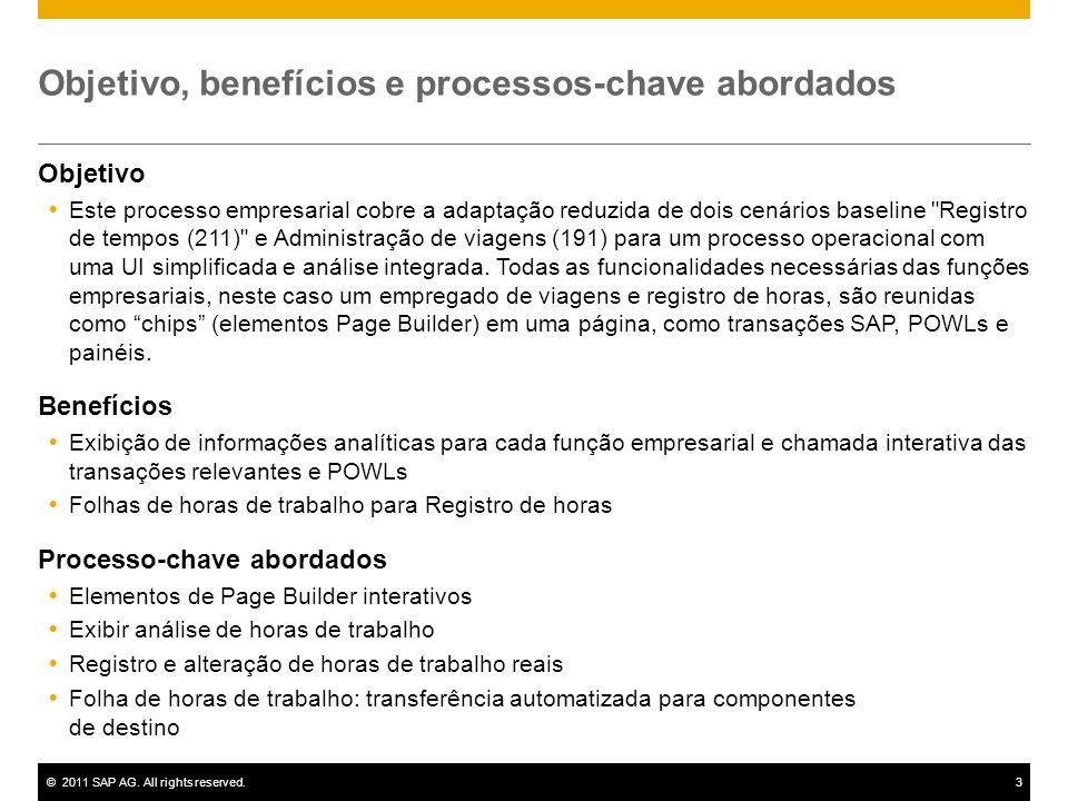©2011 SAP AG. All rights reserved.3 Objetivo, benefícios e processos-chave abordados Objetivo Este processo empresarial cobre a adaptação reduzida de