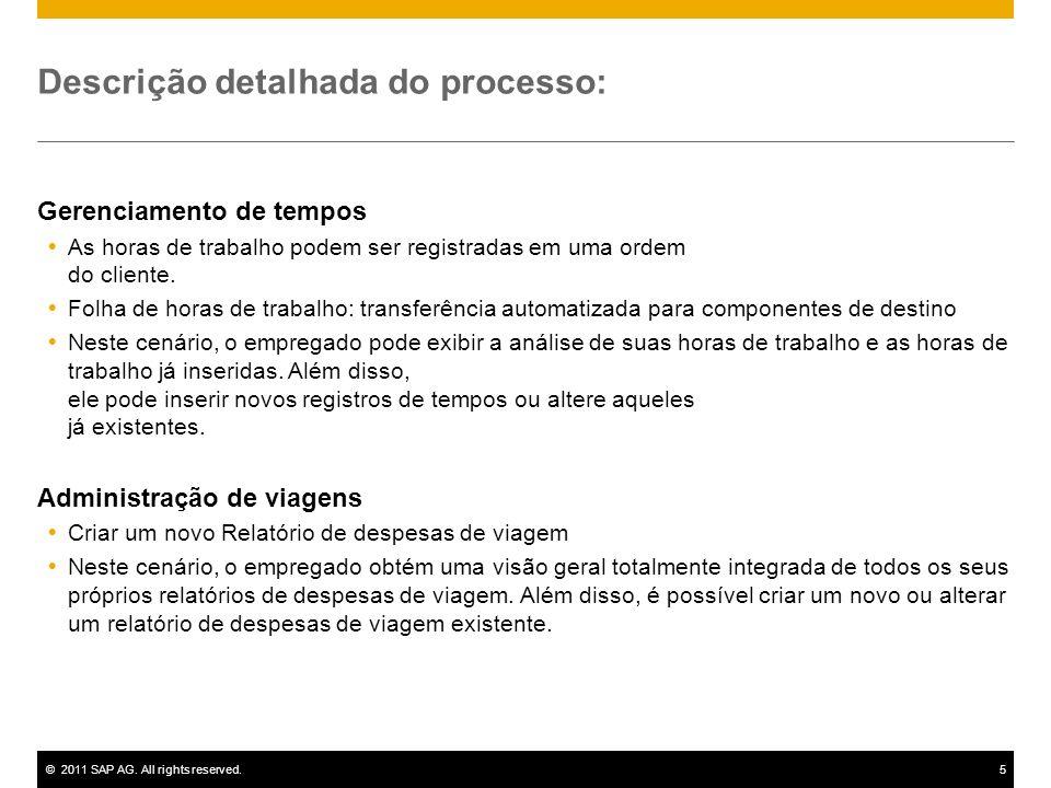 ©2011 SAP AG. All rights reserved.5 Descrição detalhada do processo: Gerenciamento de tempos As horas de trabalho podem ser registradas em uma ordem d
