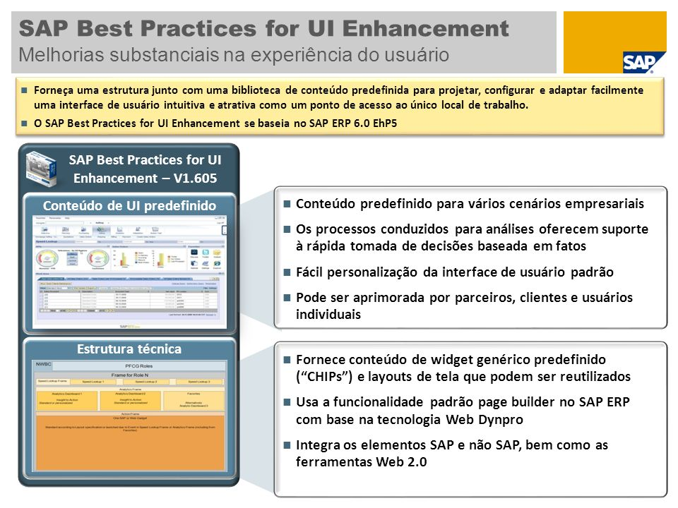 SAP Best Practices for UI Enhancement Melhorias substanciais na experiência do usuário Conteúdo predefinido para vários cenários empresariais Os processos conduzidos para análises oferecem suporte à rápida tomada de decisões baseada em fatos Fácil personalização da interface de usuário padrão Pode ser aprimorada por parceiros, clientes e usuários individuais Conteúdo de UI predefinido SAP Best Practices for UI Enhancement – V1.605 Estrutura técnica Fornece conteúdo de widget genérico predefinido (CHIPs) e layouts de tela que podem ser reutilizados Usa a funcionalidade padrão page builder no SAP ERP com base na tecnologia Web Dynpro Integra os elementos SAP e não SAP, bem como as ferramentas Web 2.0 Forneça uma estrutura junto com uma biblioteca de conteúdo predefinida para projetar, configurar e adaptar facilmente uma interface de usuário intuitiva e atrativa como um ponto de acesso ao único local de trabalho.