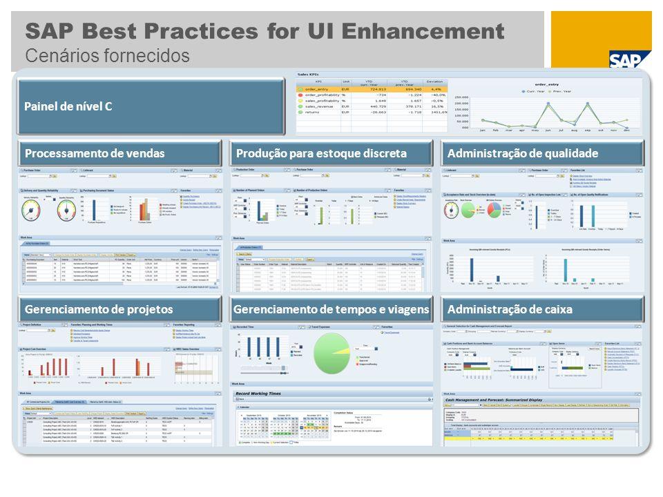 SAP Best Practices for UI Enhancement Cenários fornecidos Administração de caixaGerenciamento de projetos Administração de qualidade Painel de nível C Processamento de vendasProdução para estoque discreta Gerenciamento de tempos e viagens