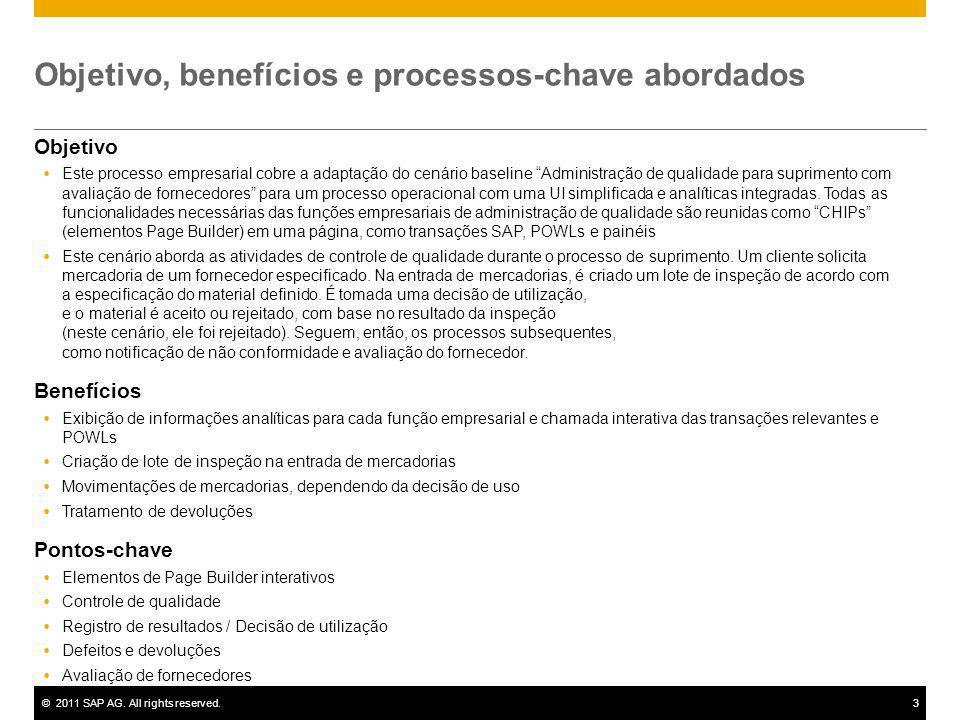 ©2011 SAP AG. All rights reserved.3 Objetivo, benefícios e processos-chave abordados Objetivo Este processo empresarial cobre a adaptação do cenário b