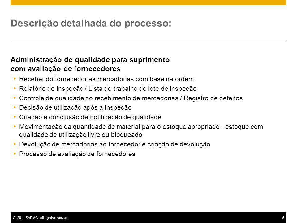 ©2011 SAP AG. All rights reserved.5 Descrição detalhada do processo: Administração de qualidade para suprimento com avaliação de fornecedores Receber