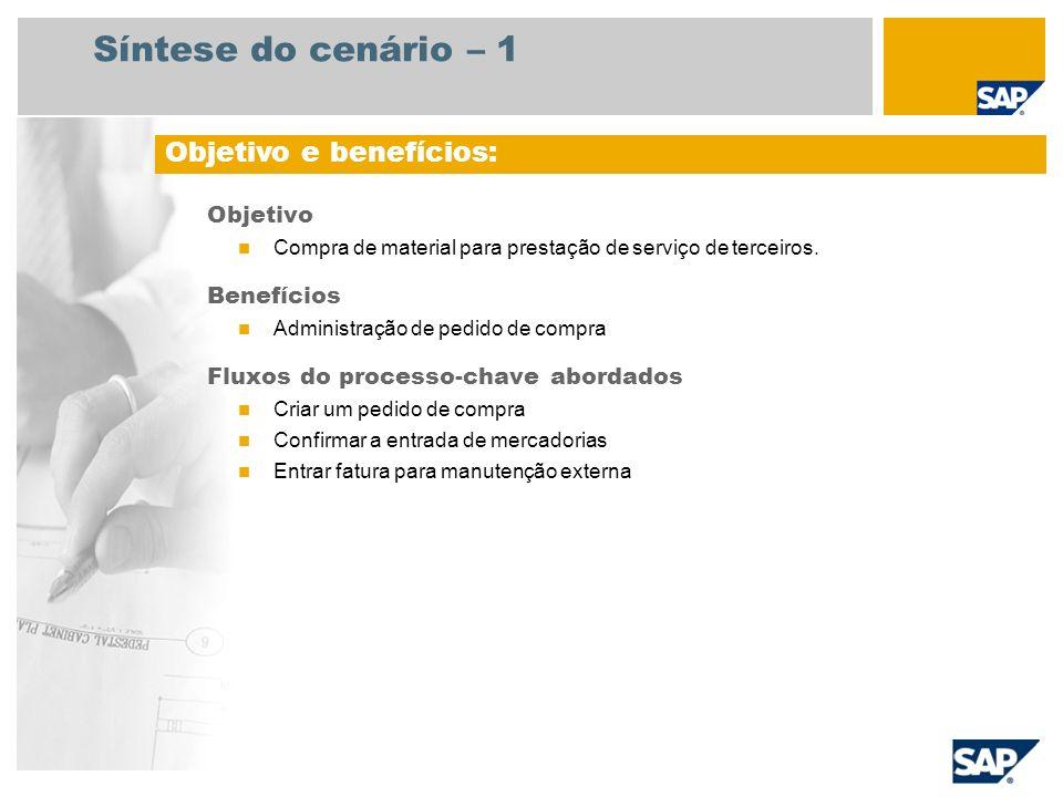 Síntese do cenário – 1 Objetivo Compra de material para prestação de serviço de terceiros. Benefícios Administração de pedido de compra Fluxos do proc