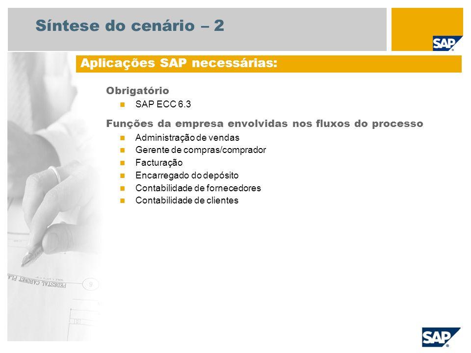 Síntese do cenário – 2 Obrigatório SAP ECC 6.3 Funções da empresa envolvidas nos fluxos do processo Administração de vendas Gerente de compras/comprad