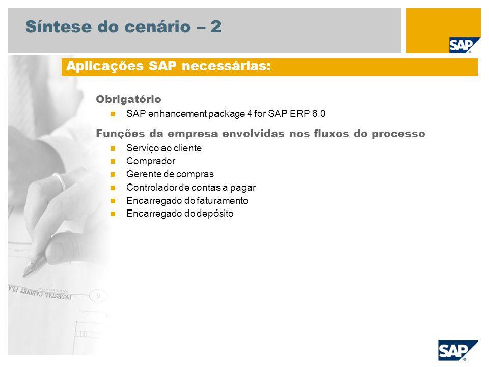 Síntese do cenário – 2 Obrigatório SAP enhancement package 4 for SAP ERP 6.0 Funções da empresa envolvidas nos fluxos do processo Serviço ao cliente C