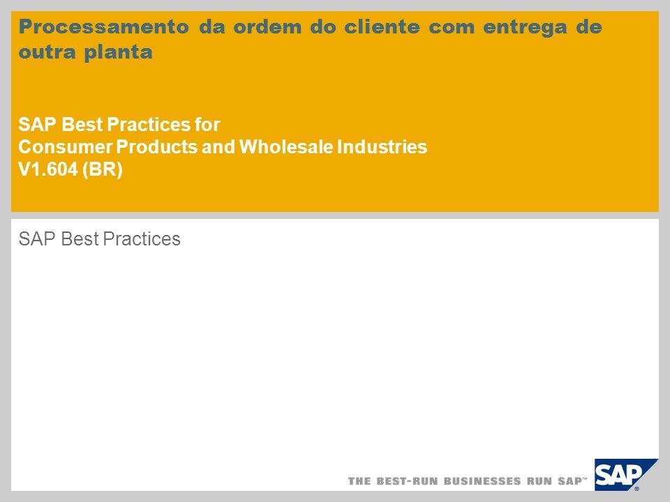 Processamento da ordem do cliente com entrega de outra planta SAP Best Practices for Consumer Products and Wholesale Industries V1.604 (BR) SAP Best P