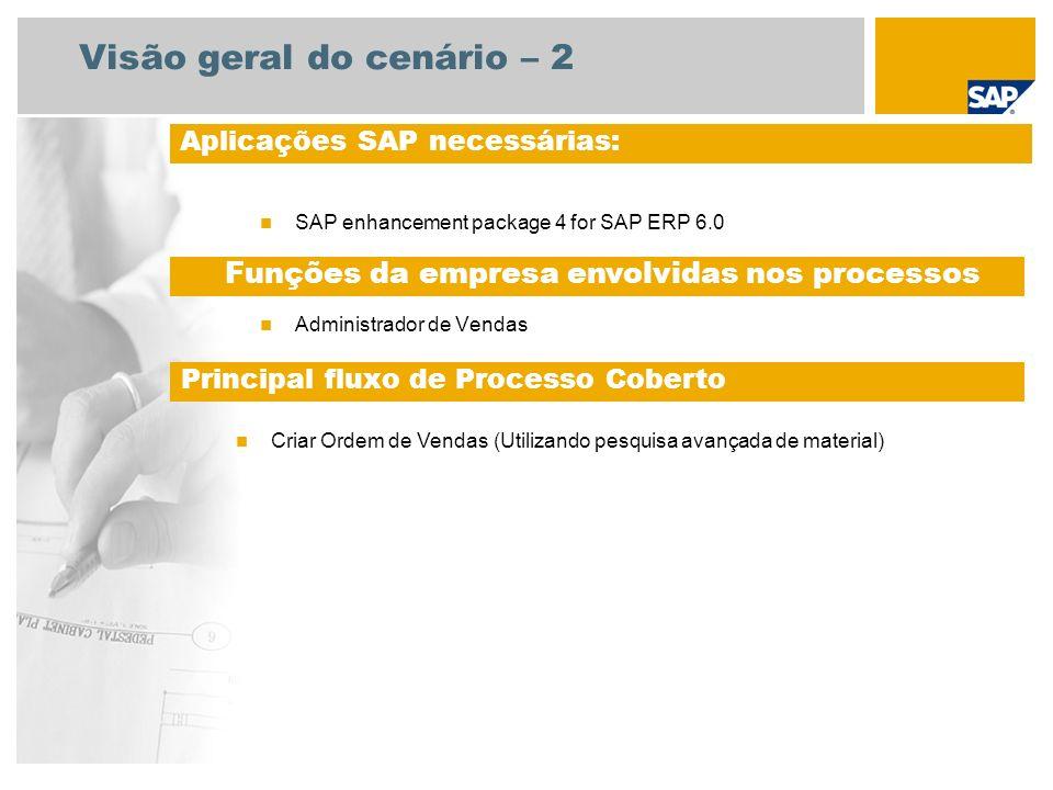 Visão geral do cenário – 2 SAP enhancement package 4 for SAP ERP 6.0 Administrador de Vendas Aplicações SAP necessárias: Funções da empresa envolvidas