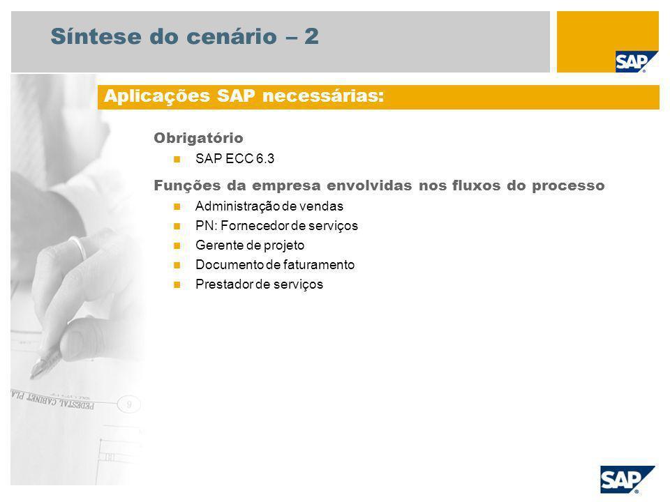 Síntese do cenário – 2 Obrigatório SAP ECC 6.3 Funções da empresa envolvidas nos fluxos do processo Administração de vendas PN: Fornecedor de serviços