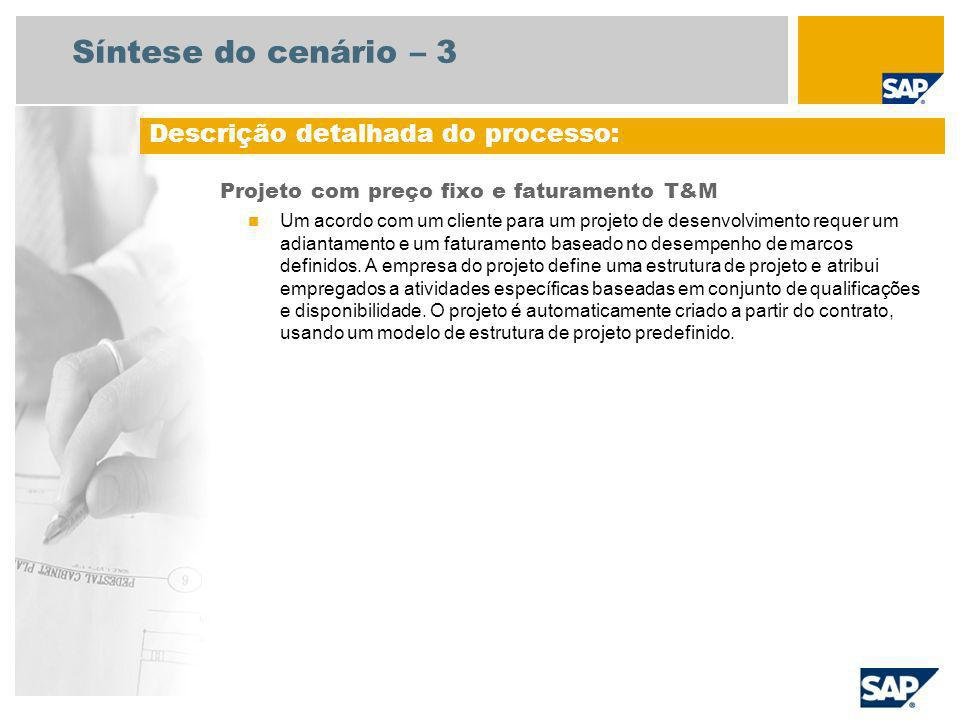 Síntese do cenário – 3 Projeto com preço fixo e faturamento T&M Um acordo com um cliente para um projeto de desenvolvimento requer um adiantamento e u