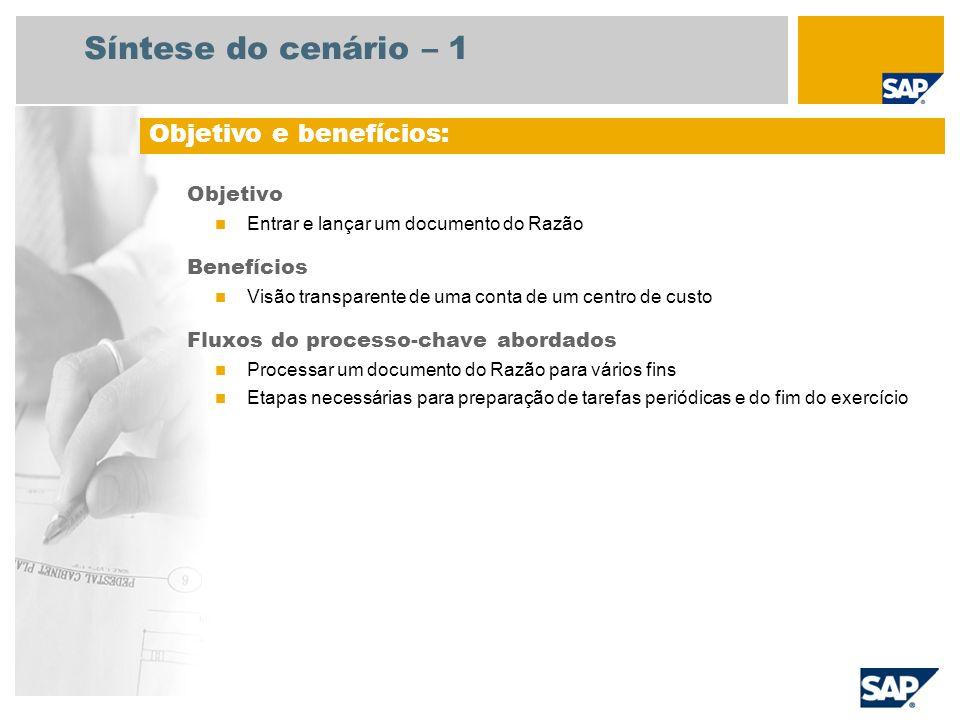 Síntese do cenário – 1 Objetivo Entrar e lançar um documento do Razão Benefícios Visão transparente de uma conta de um centro de custo Fluxos do proce