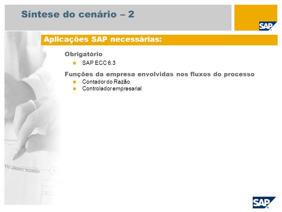 Síntese do cenário – 2 Obrigatório SAP ECC 6.3 Funções da empresa envolvidas nos fluxos do processo Contador do Razão Controlador empresarial Aplicaçõ