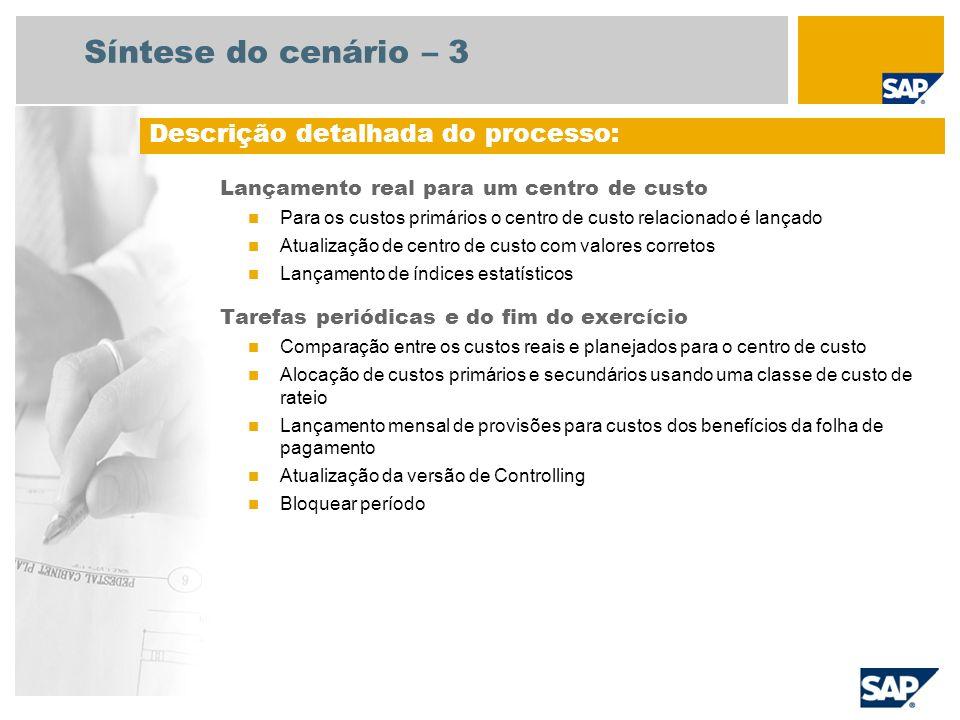 Síntese do cenário – 3 Lançamento real para um centro de custo Para os custos primários o centro de custo relacionado é lançado Atualização de centro