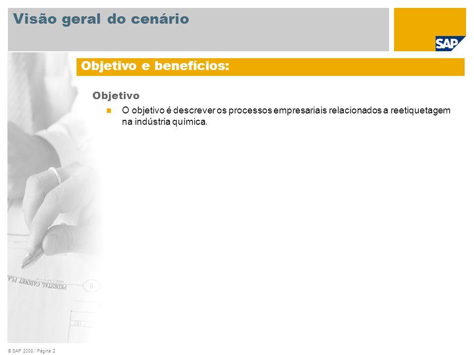 © SAP 2008 / Página 2 Objetivo O objetivo é descrever os processos empresariais relacionados a reetiquetagem na indústria química. Objetivo e benefíci