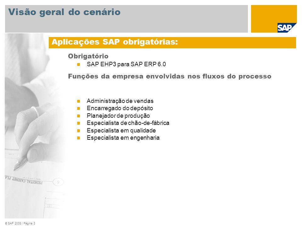 © SAP 2008 / Página 3 Obrigatório SAP EHP3 para SAP ERP 6.0 Funções da empresa envolvidas nos fluxos do processo Administração de vendas Encarregado d