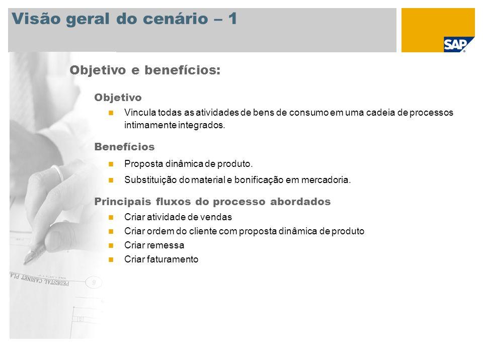 Visão geral do cenário – 1 Objetivo e benefícios: Objetivo Vincula todas as atividades de bens de consumo em uma cadeia de processos intimamente integ