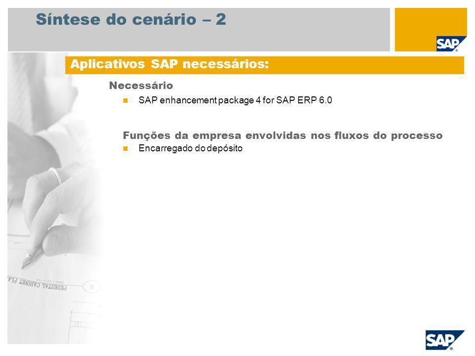 Síntese do cenário – 2 Necessário SAP enhancement package 4 for SAP ERP 6.0 Funções da empresa envolvidas nos fluxos do processo Encarregado do depósi