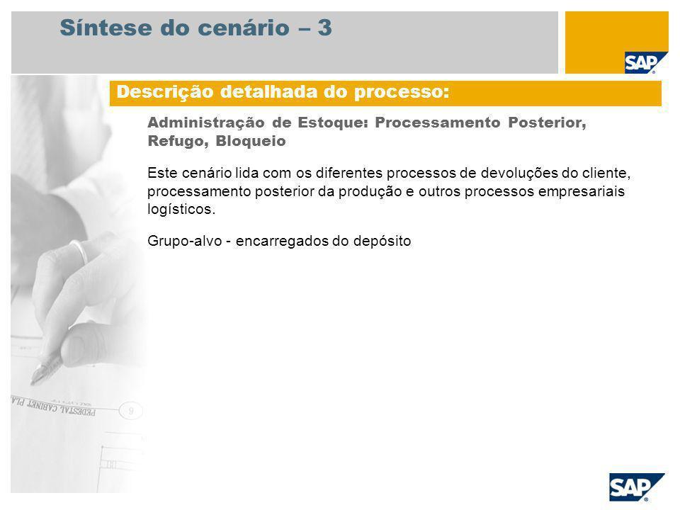 Síntese do cenário – 3 Administração de Estoque: Processamento Posterior, Refugo, Bloqueio Este cenário lida com os diferentes processos de devoluções